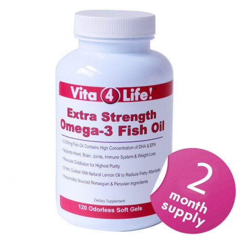 Vita4Life Extra Strength Omega 3 Fish Oil – 120 Count